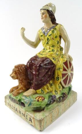 A 19thC style Staffordshire pottery figure of Brittannia