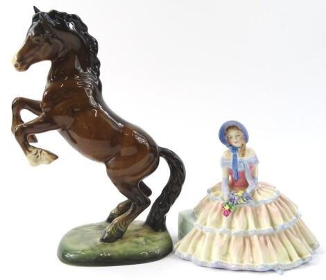 A Beswick rearing horse figure