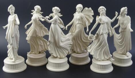 A set of six Wedgwood Compton Woodhouse The Dancing Hours collection figures
