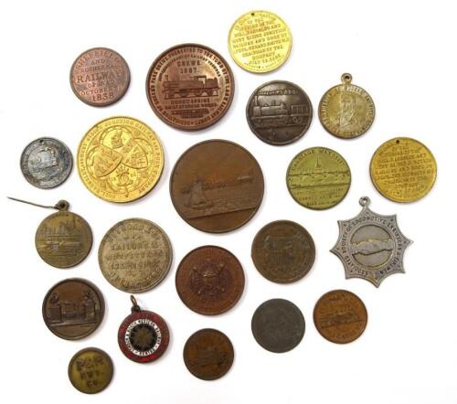 A large quantity of 19thC and later railway related medals and medallions