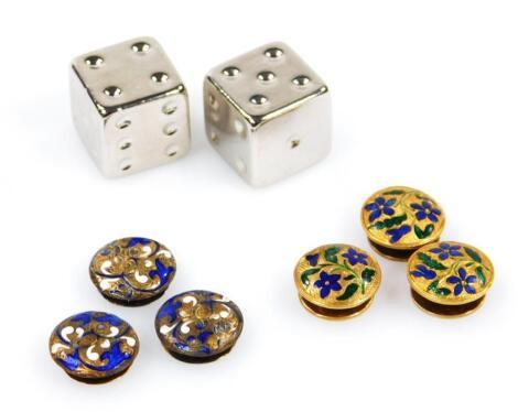 Two sets of three enamel collar studs
