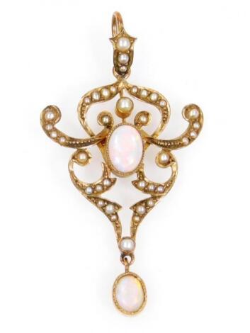 A early 20thC Art Nouveau drop pendant