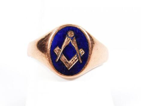 A 9ct gold and enamel finish Masonic signet ring