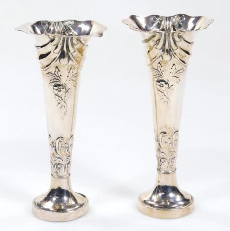 A pair of Victorian silver specimen vases