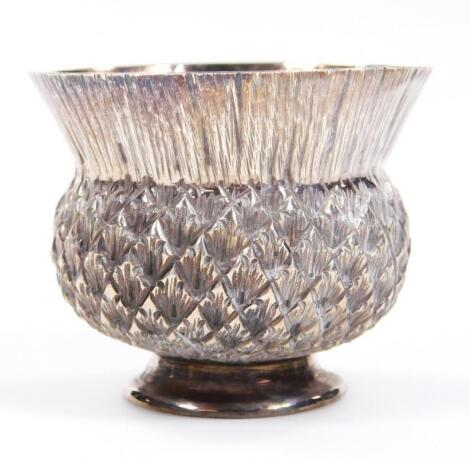 A Victorian novelty silver thistle shaped bowl