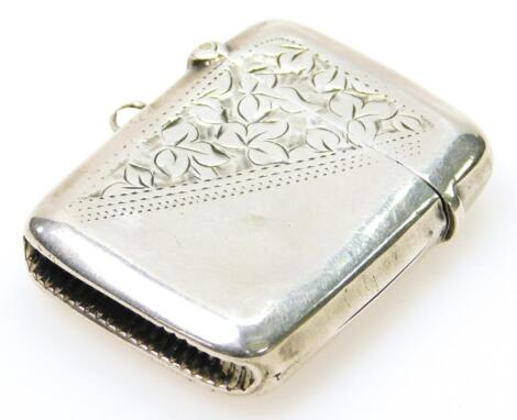 An Edwardian silver vesta case
