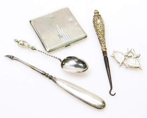 A George VI Art Deco design silver powder compact