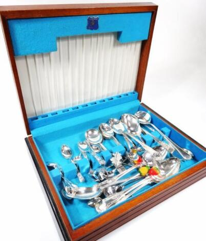 A silver plated part canteen of cutlery