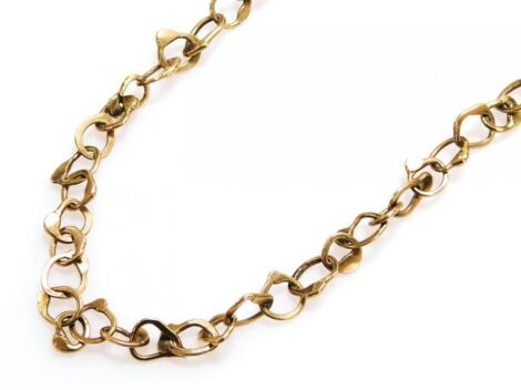 A 9ct gold necklace or watch chain with shaped links