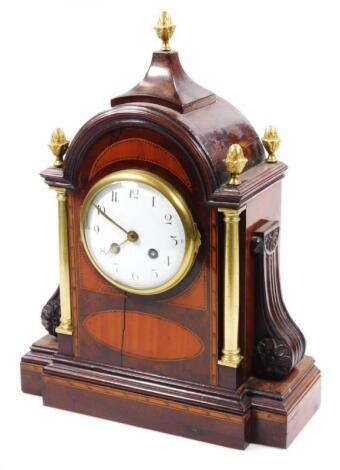 A 19thC mahogany satinwood and boxwood strung mantel clock