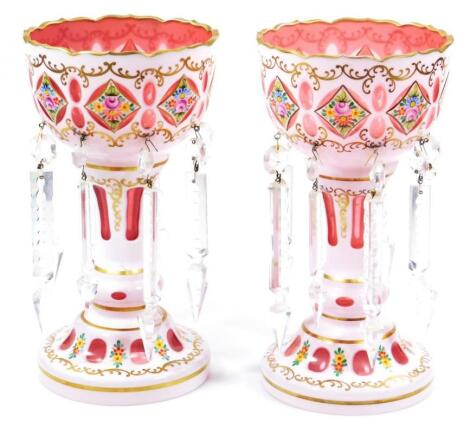 A pair of 19thC Bohemian milk ruby and coloured glass lustres