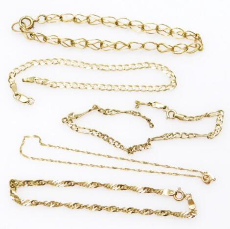 Five 9ct gold bracelets