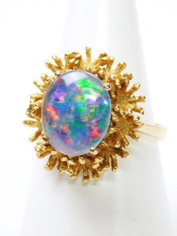 A 9ct gold opal dress ring