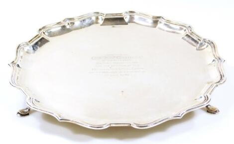 A George V silver salver