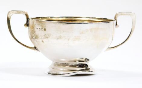 A George V silver two handled sugar bowl