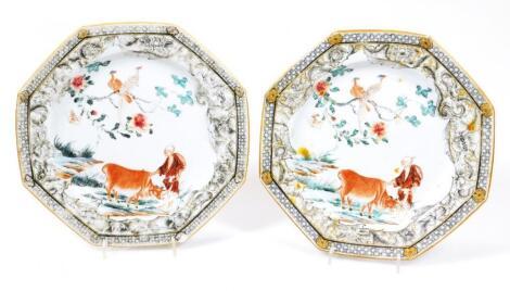 A pair of oriental porcelain plates