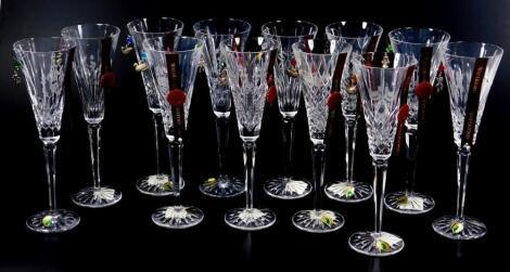 Twelve Waterford Crystal limited edition Twelve Days of Christmas glasses