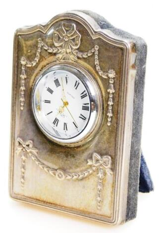 An Elizabeth II silver fronted mantel clock