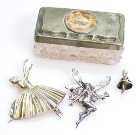 A silver brooch formed as ballet dancer