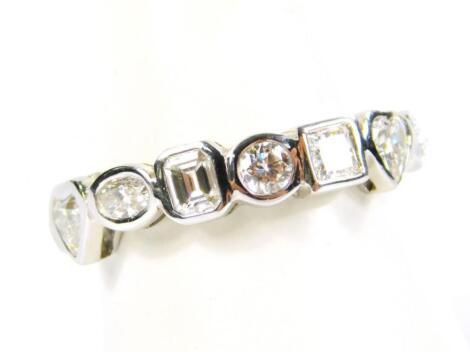 A diamond eight stone ring