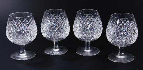 Four Waterford Crystal brandy balloons