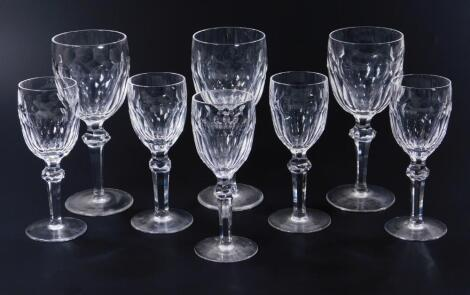 Eight various Waterford crystal wine glasses