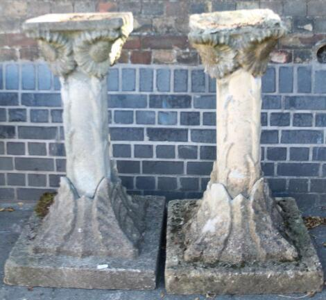 A pair of stone garden planters