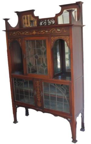 A late Victorian mahogany Art Nouveau design display cabinet