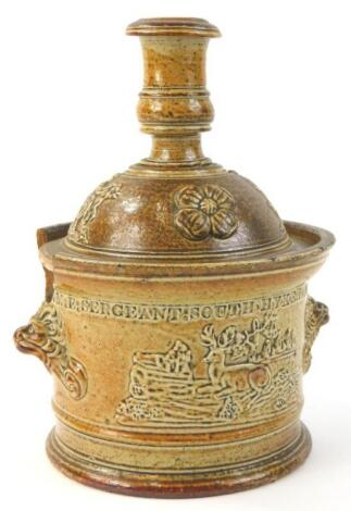 A 19thC stoneware jar and cover