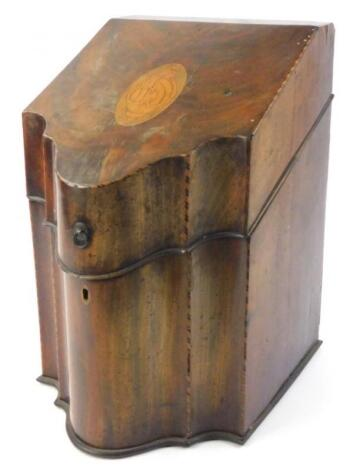 An early 19thC mahogany and chequer banded knife box