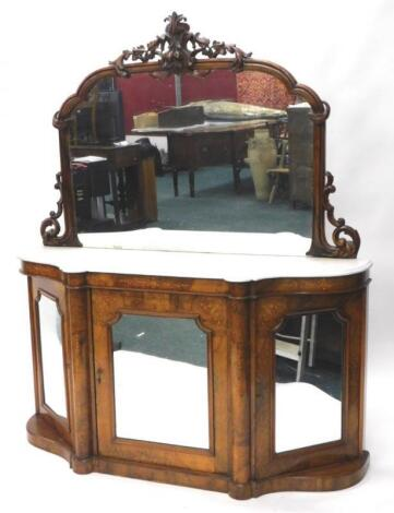 A Victorian walnut and marquetry side cabinet