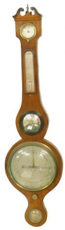 A mid 19thC wheel barometer signed Barnascon and Co Nottingham