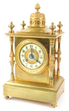 A French gilt brass mantel clock