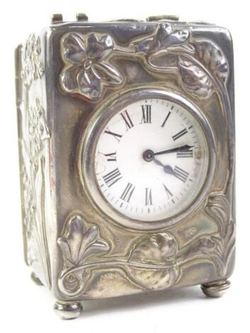 An Edwardian silver cased carriage timepiece