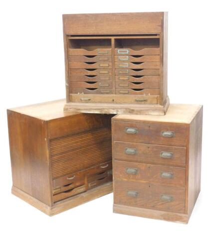 A collection of three late 19th/early 20thC oak shop fittings
