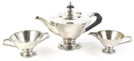 An Edwardian silver three piece tea service