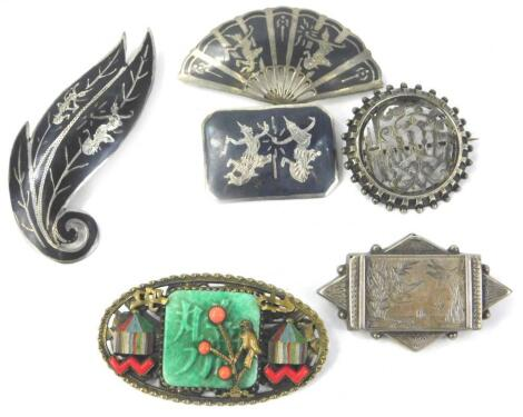 Various Oriental and Eastern white metal brooches
