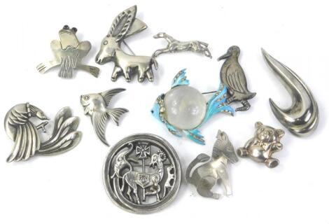 Various silver and other brooches