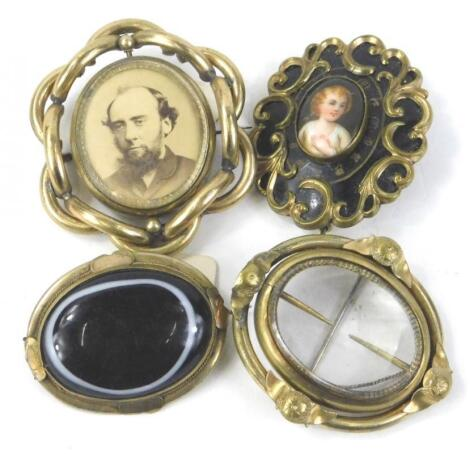 Four Victorian memorial brooches