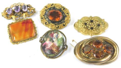 Various Victorian and later brooches