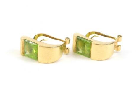 A pair of peridot earrings