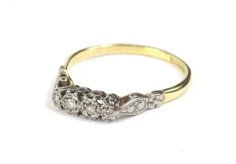 An 18ct gold and platinum diamond set Victorian dress ring