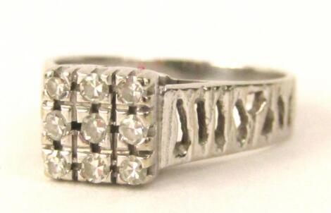 A square design diamond dress ring
