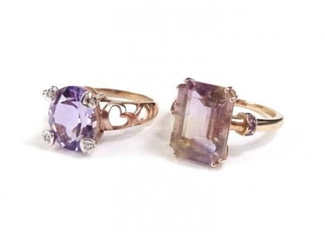 Two 9ct rose gold dress rings