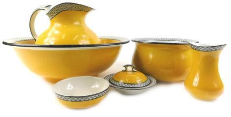 A Soho Pottery semi porcelain part wash stand set