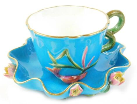 A Victorian turquoise glazed oriental style cup
