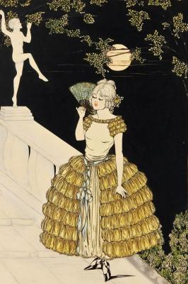 Figure Holding Fan On A Twilight Evening Water Colour 1920 20thc Clarre