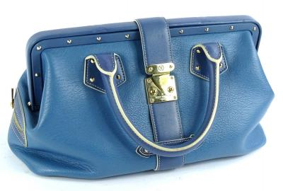 A Louis Vuitton Angers PM handbag, in blue suhari leather, with brass hardwear, stamped Louis Vuitton made in France to interior, with dustbag, 34cm W, 17cm H, 15cm D.
