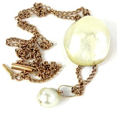A Victorian style natural pearl necklace, with natural pearl pendant approx 2.2cm x 2.5cm, with a pearl drop, 1cm, on a yellow metal chain, unmarked, the pendant 5cm drop, 16.3g all in. Provenance: The property of Joan Stephenson, Kirkwood, North Church Walk, Newark, Nottinghamshire.