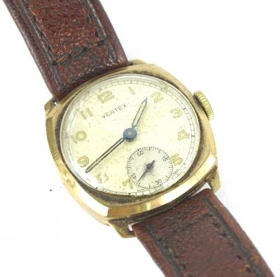A 9ct gold Vertex gent's wristwatch, with circular dial, in square case, with seconds dials, on a brown leather strap, 27.2g all in.